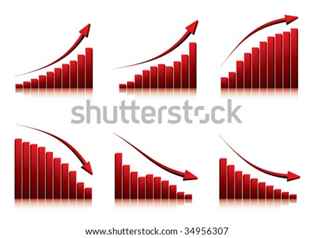 3d graphs showing rise and fall in profits or earnings / vector illustration - stock vector