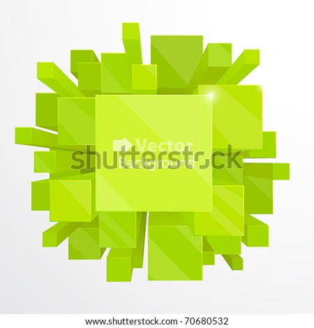 3d green abstract background - vector illustration - stock vector