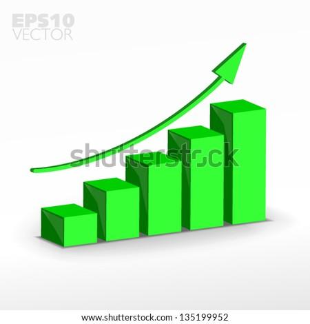 3D green  growth graph. Vector - stock vector
