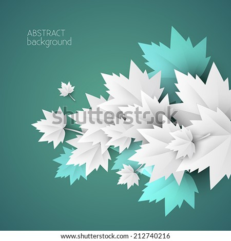3d green leaves abstract background - vector - stock vector