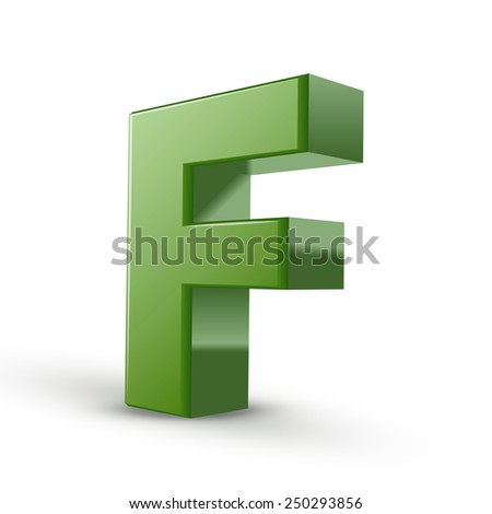 3d green letter F isolated on white background
