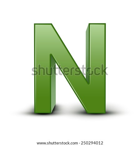 3d green letter N isolated on white background