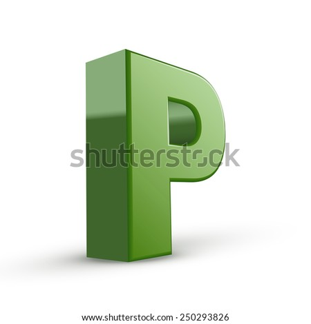 3d green letter P isolated on white background - stock vector