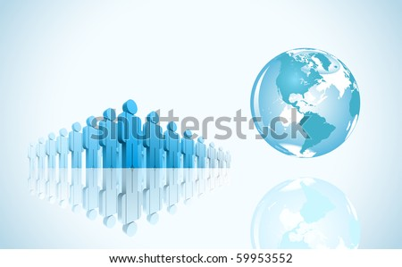 3d group of people and world. Vector illustration. - stock vector