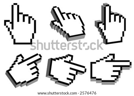 3D hand cursor - stock vector