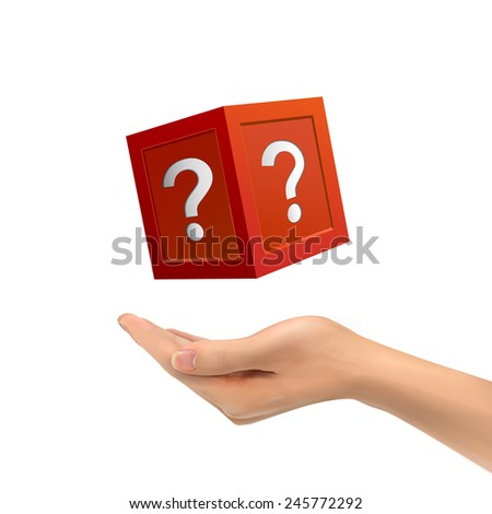 3d hand holding mysterious box over white background - stock vector