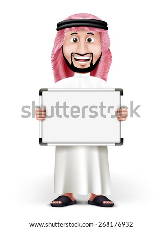 3D Handsome Saudi Arab Man in Traditional Dress Stand with Blank White Board with Space for Text or Business Messages while Smiling and Talking. Editable Vector Illustration - stock vector