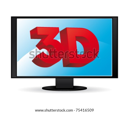 3D high definition wide screen. vector icon.