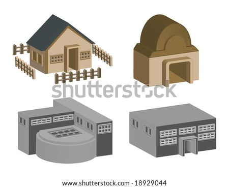 3d house and building in vector format