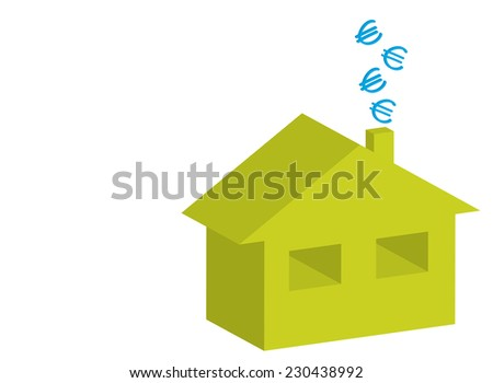 3D house and euro symbols on chimney as energy efficiency concept
