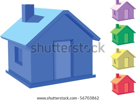 3d house vector - stock vector