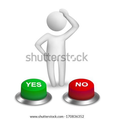 "3d human character choosing between ""yes""or ""no"" - stock vector"