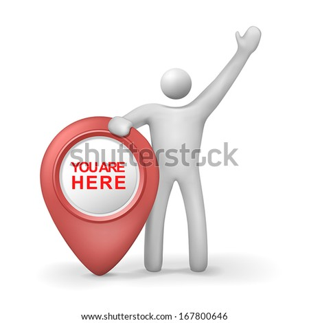 3d human with you are here symbol isolated white background - stock vector