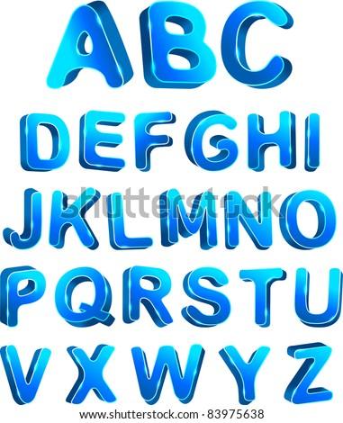 3d ice set alphabet. Vector illustration - stock vector