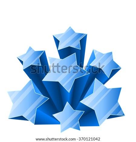 3D ice stars burst isolated on white background. - stock vector