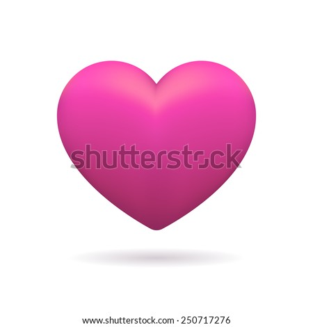 3D icon of pink heart. Isolated sign of heart on white background. Vector element for greeting card, banner, promotion, invitation, flyer, etc - stock vector