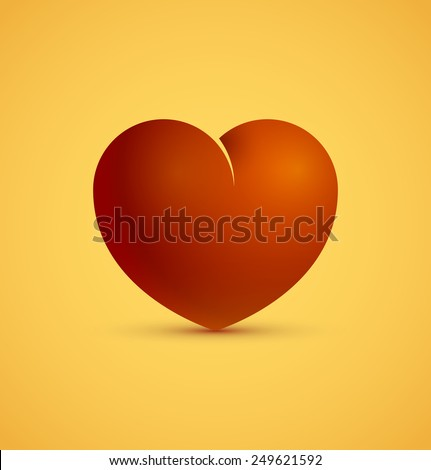3d icon of red heart, love and valentine day concept. Vector illustration - stock vector