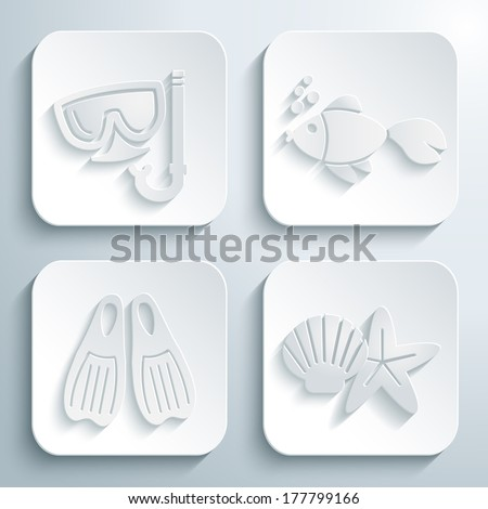 3D icons set - diving mask, fish, flippers, shell and starfish. White app buttons. Eps10 - stock vector
