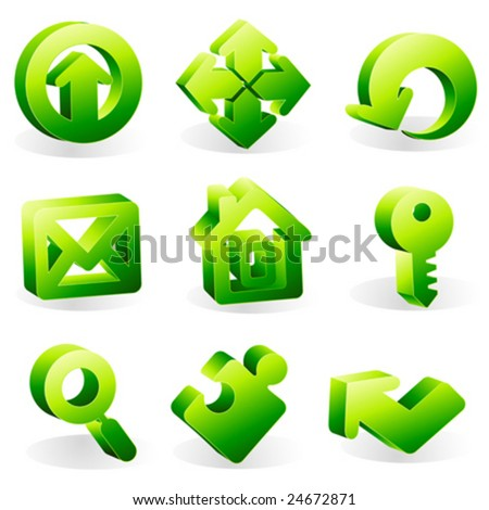 3d icons set in green. Vector illustration. - stock vector