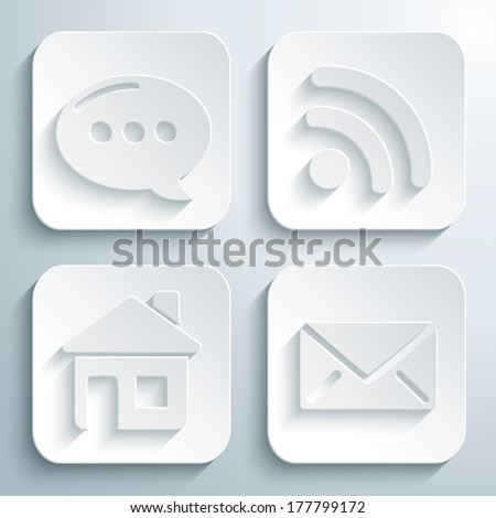 3D icons set - speech bubble, rss, mail, home. White app buttons. Eps10 - stock vector