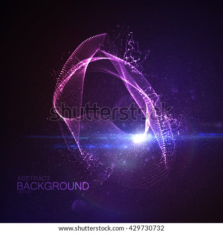 3D illuminated digital neon splash of glowing particles and Flare lens light effect. Futuristic vector illustration of particles. Technology concept of radio or sound wave. Abstract energy background - stock vector