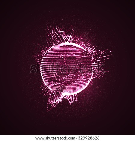 3D illuminated distorted sphere of glowing particles and wireframe. Futuristic vector illustration. HUD element. Technology digital splash or explosion concept - stock vector