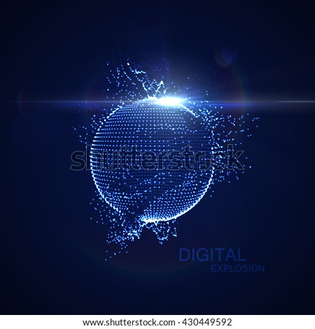 3D illuminated distorted sphere of glowing particles, wireframe and flare lens light effect. Futuristic vector illustration. HUD element. Technology digital splash or explosion concept - stock vector