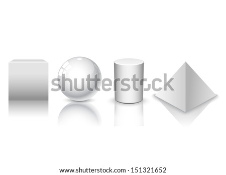 3d illustration basic geometric shapes  - stock vector