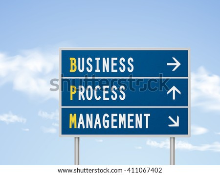 3d illustration business process management road sign isolated on blue sky