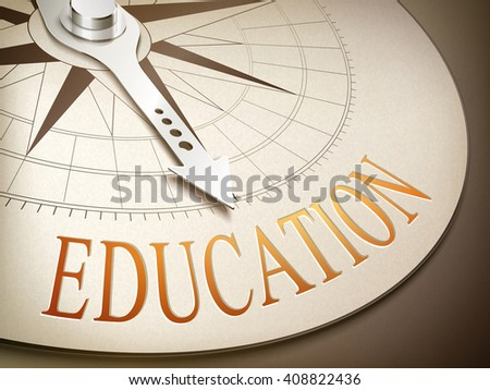 3d illustration compass needle pointing the word education - stock vector