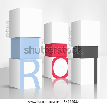 3d illustration concept: Return on investment - stock vector