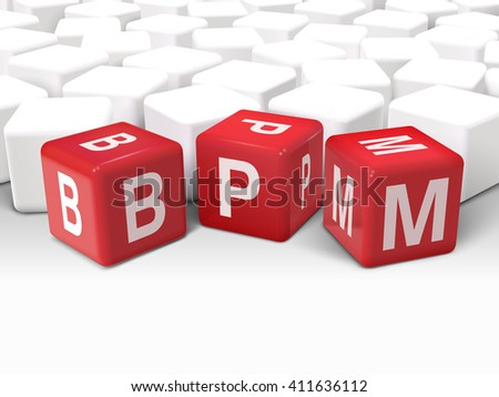 3d illustration dice with word BPM business process management on white background