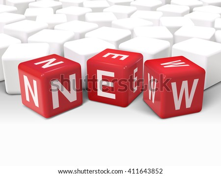 3d illustration dice with word NEW on white background