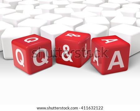 3d illustration dice with word Q and A question and answer on white background - stock vector