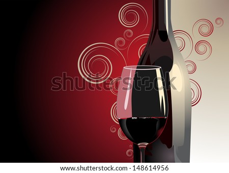 3d Illustration of a bottle and glass of red wine against a bicolour red and white background with gradient colour, decorative pattern and copyspace for a luxury background - stock vector