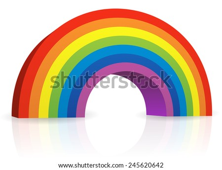 3d illustration of a rainbow with shadow and reflection - stock vector