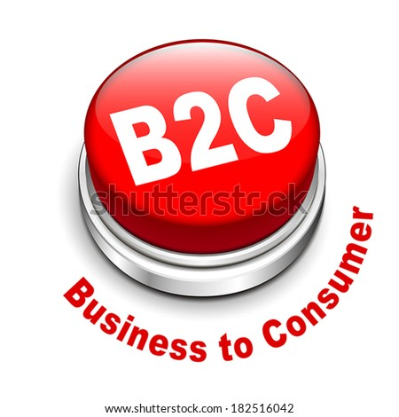 3d illustration of b2c ( business to consumer ) button isolated white background  - stock vector