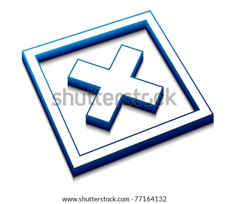 3d illustration of blue cross mark on isolated background - stock vector