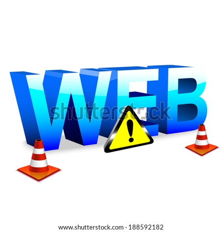 3d illustration of blue icon web over white background