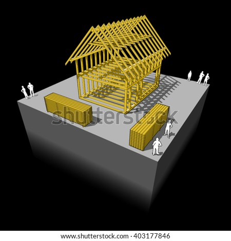 3d illustration of Construction of simple detached house with wooden framework construction - stock vector