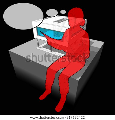3d illustration of diagram of a modern house and sitting woman reading paper in front of it with comic thought bubble