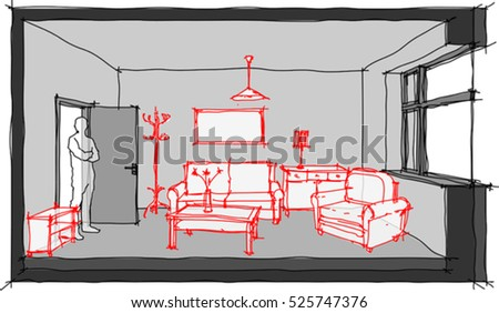 3d illustration of hand drawn sketch of single empty room with door and window furnished with hand drawn sketches of different furniture