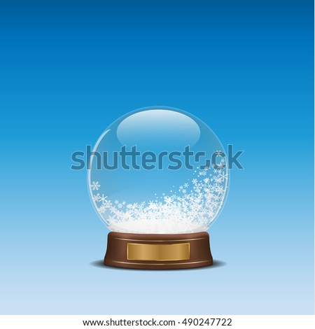 3d illustration of snow globe on blue