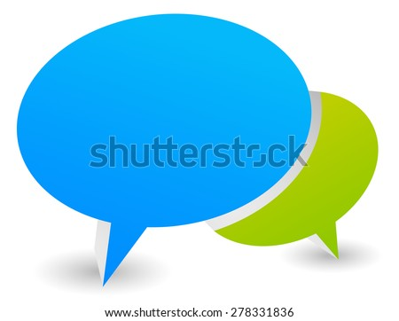 3d illustration of two overlapping speech or talk bubbles - stock vector
