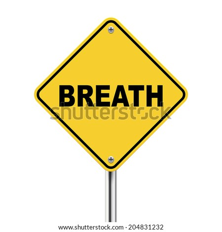 3d illustration of yellow roadsign of breath isolated on white background
