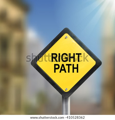 3d illustration of yellow roadsign of right path isolated on blurred street scene - stock vector
