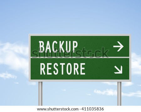 3d illustration road sign with backup and restore isolated on blue sky