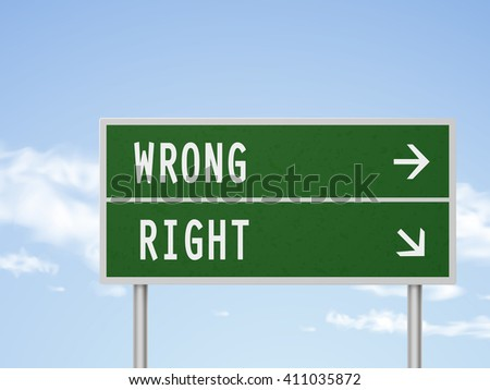 3d illustration road sign with wrong and right isolated on blue sky - stock vector