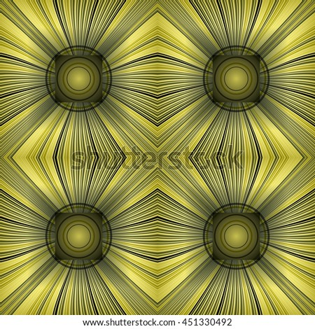3D illustration. Seamless pattern with radial rays and concentric circles. The three-dimensional luminous psychedelic space. Regular pattern. - stock vector