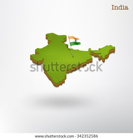 3d india map - stock vector
